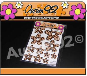 x30 Leopard Print Daisy Car Stickers
