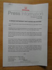 HONDA DESIGN PARTNERSHIP orig 1998 UK Mkt Press Release - Brochure