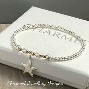 sterling silver stretch stacking bracelet silver star charm with rose gold fill