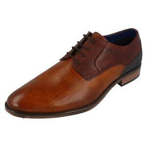 Oferta Hombre Bugatti Coñac/Marrón Leather Zapatos de Vestir con Cordones