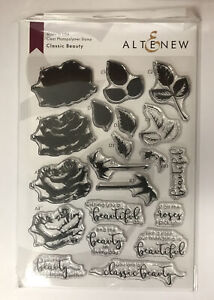 Altenew Classic Beauty Clear Photopolymer Stamps w/Layering Guide, Rose & Words