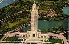 c.1943 Louisiana State Capitol At Baton Rouge Aerial View La. VTG Postcard