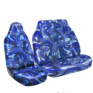 FORD TRANSIT (MK7) -HEAVY DUTY BLUE CAMOUFLAGE VAN SEAT COVERS - SINGLE + DOUBLE