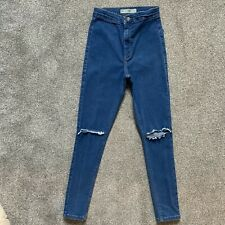 Topshop Super Skinny High Waisted JONI Blue Jeans, Ripped, Stretchy 10 W28 L30