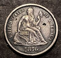 1876 Seated Liberty Dime 10c High Grade AU Details Collectible Type Coin