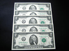 (5) $2 2013 DALLAS (CONSECUTIVE#)FEDERAL RESERVE CHOICE UNC GEM BU NOTE