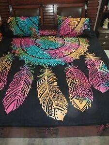Handmade Mandala Duvet Doona Cover Quilt Cover Queen Size Indien Bedding Set