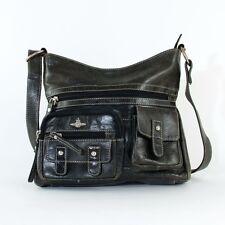 True Vintage 90's Grey Real Leather Small Handbag Shoulder Crossbody Bag Retro