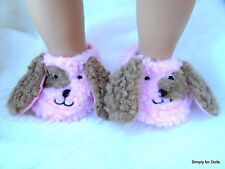 "PUPPY DOG Pink & Brown DOLL SLIPPERS BOOTIES fits 18"" AMERICAN GIRL Doll Clothes"