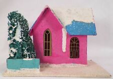 Vintage Hot Pink Christmas House Blue Roof Train Yard Putz Made Japan Pretty