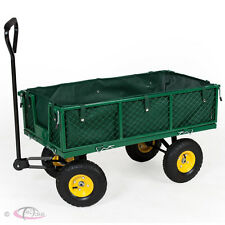 Heavy Duty Wheelbarrow Garden Mesh Cart Trolley Utility Cart Dump 4 Wheel