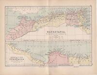 1872 Vittoriano Antico Mappa ~ Mauretania Numidia & Africa ~ Cyrenaica