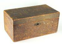 ~ Antique 19th C. American Pine Wood Locking Box Grain Painted Primitive