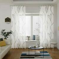 2PCS White Leaves Pattern Voile Panel Net Curtain Window Curtains Home Decors