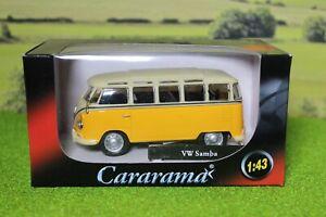 Cararama 1:43 scale VW Samba Bus, yellow, Great for 0 Gauge Railways.