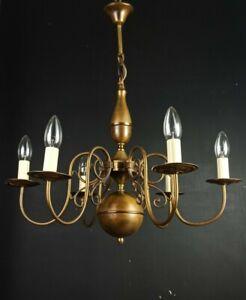 Classical Vintage Flemish 6 Arm Lacquered Brass Chandelier Ceiling Light