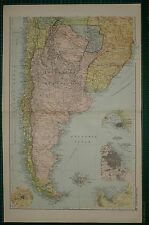 1905 ANTIQUE MAP ~ SOUTH AMERICA SOUTHERN MONTEVIDEO BUENOS AYRES CHILE