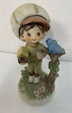 Lefton Figure Country Big Hat Boy With Blue Bird and Birdhouse 4 Inch Tall