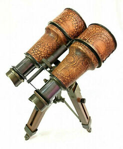 """Nautical 6"""" Binocular Antique Table Top Brass Telescope with Wooden Tripod Stand"""