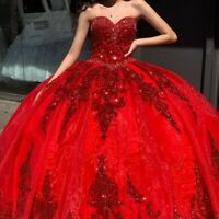 Red Organza Sweet 16 Quinceanera Dresses Sequins Applique Beaded Sweetheart Gown