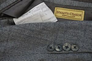Paul Stuart STUART's Choice x Isaia Gray Black Glenplaid POW Wool Sport Coat 42L