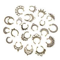21 pièces cristal faux septum clicker nez anneau non-piercing