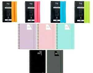 A4 / A5 NOTE PAD  SPIRAL POLY PASTEL BANDED TWINWIRE NOTEBOOK SHEET LINED
