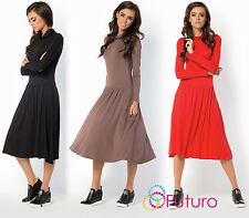 Ladies Formal Long Sleeve Cowl Neck Tea Length A-Line Skater Office Dress FM32