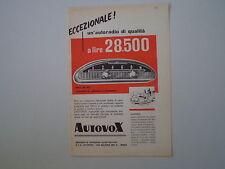 advertising Pubblicità 1958 AUTORADIO AUTOVOX RA 95