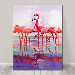 "BEAUTIFUL BIRD ART ~ CANVAS PRINT  8x10"" ~ Pink Flamingo Watercolor"
