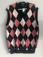 Vintage NWT Brooks Brothers V-Neck Argyle Navy Blue Pink Sweater Vest Mens XL