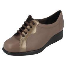 Mujer Equity color topo / beige PRL Zapatos de piel con cordones UK 4.5 4e Fit