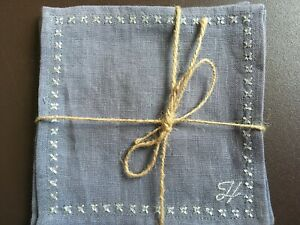 """Cocktail Napkins Linen, Grey with silver monogram embroidery """"H"""" set of 4"""