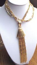 Grand collier plaqué or bijou vintage double chaîne pampille pendentif 1685