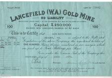 Australia - Share Scrip. 1935 Lancefield (W.A) Gold Mine N/L..