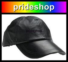 Black Leather Adjustable Baseball Cap Hat Lesbian Gay Bear Bisexual Pride #789