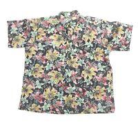 Reyn Spooner Barkcloth Hawaiian Mens XL Pullover Shirt Floral VTG 2 Button  EUC