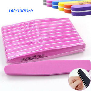Nail 100/180 Files Grit Manicure Buffer Double Sided Sanding Professional 10 pcs
