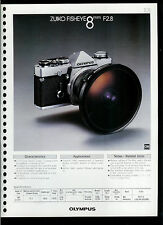 Factory 1978 Olympus Zuiko Fisheye 8mm F2.8 Camera Lens Dealer Data Sheet Page