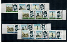 QATAR Scott # 102, 102a IMPERF & PERF MINT / NH STRIPS OF THREE;  SCV $28.50
