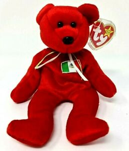 """Ty Beanie Babies OSITO BEAR 1999 Mexico 8"""" Retired Red swing tag & Protector VGC"""