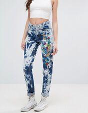 GLAMOROUS Festival tie dye embroidered hi-waist rigid jeans UK16 34x32 NWT $71!