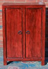 Oriental Red Antique Chinese Asian Lacquer Cabinet Wardrobe