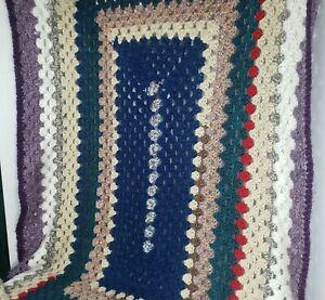 "Afghan Soft Throw Blanket 65"" × 45"" Made by Alberta Nixon Handmade Crochet"