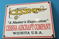 VINTAGE CESSNA AIRCRAFT CO PORCELAIN GAS AVIATION AIRPLANE SERVICE & SALES SIGN
