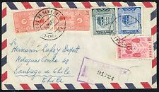 446 VENEZUELA TO CHILE REGISTERED AIR MAIL COVER 1955 CARACAS - SANTIAGO