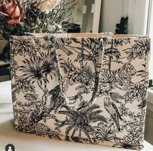 H&M Jacquard Weave Fabric Patterned Animal Cotton Book Tote Handbag Bag Large