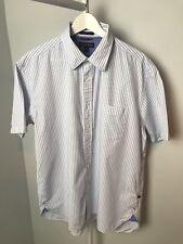 Tommy Hilfiger Bleu/Blanc Chemise rayée-manches courtes-XL-a26