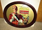 1930's AMBROSIA beer (man & German Shepard dog) oval tray CHICAGO, ILLINOIS