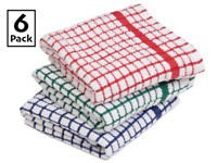 Pack of 6 Premium Cotton Terry Towelling Tea Towels Kitchen Hand Towel DishCloth
